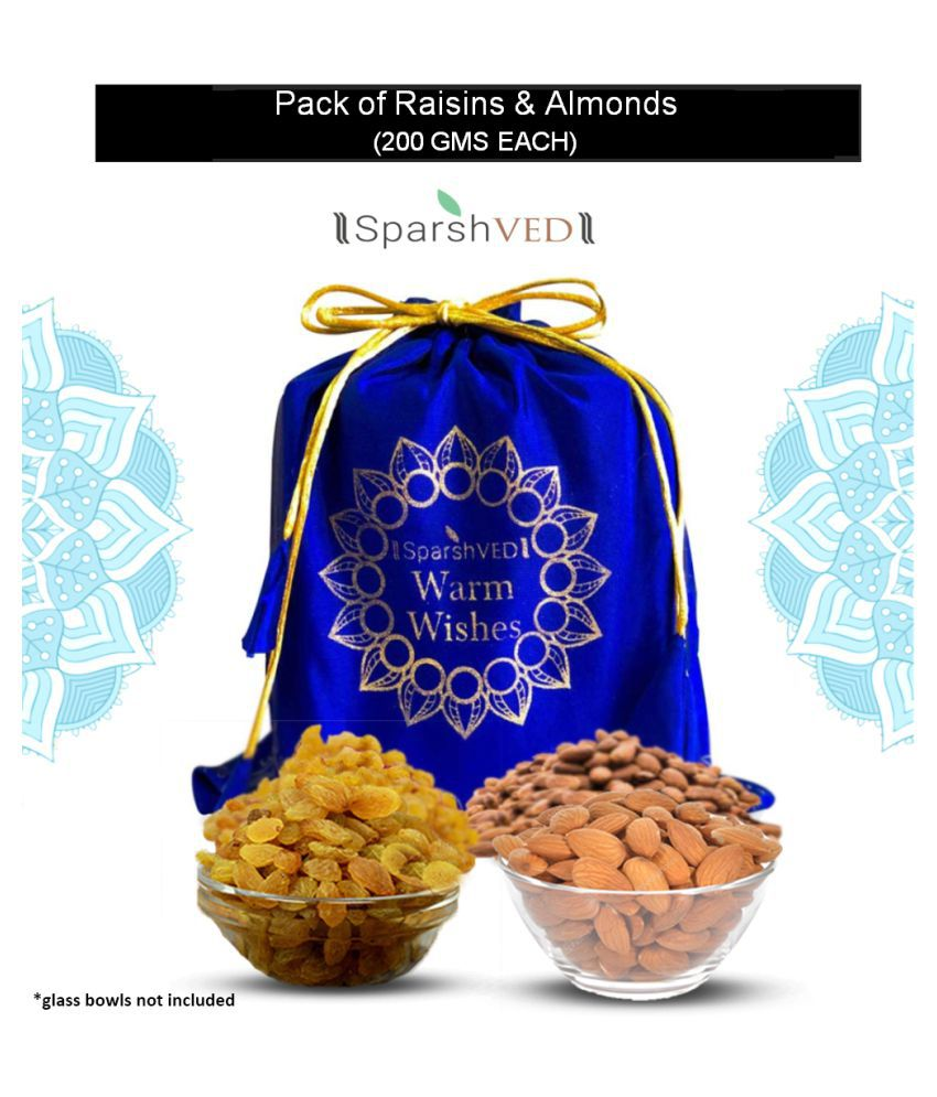 Sparshved Almond (Badam) & Raisin (Kishmish) Potli 400g (Almond 200g + Raisin 200g)