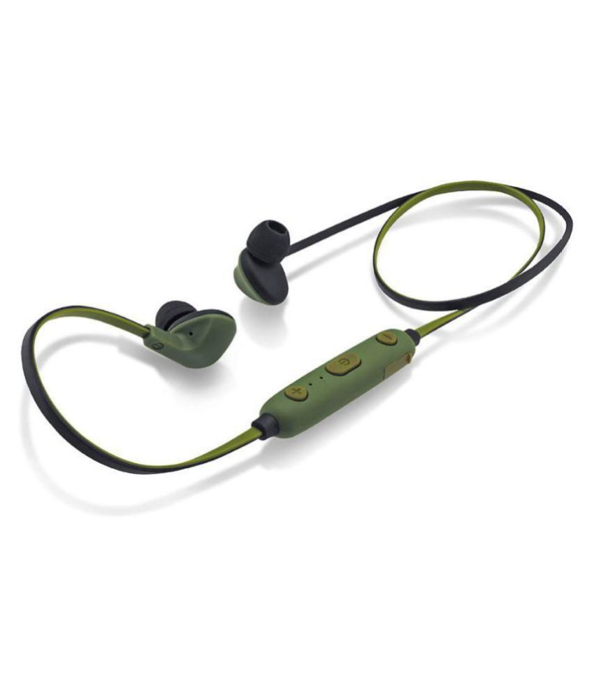 iBall Earwear Sporty Military Green Neckband Wireless With Mic Headphones/Earphones