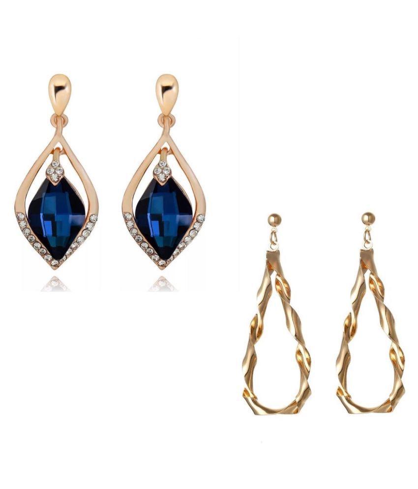 Combo of Metal Crystal Drop Earrings