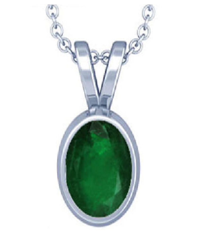 KUNDLI GEMS – 7.5 Ratti Emerald Pendant with Natural   Stone Astrological & Lab Certified Silver Plated