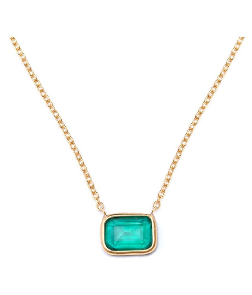 KUNDLI GEMS -   9.5 Ratti Natural Panna Gold  Plated  Original Certified  Pandent  Astrological Pure Gold  Plated  Pendant