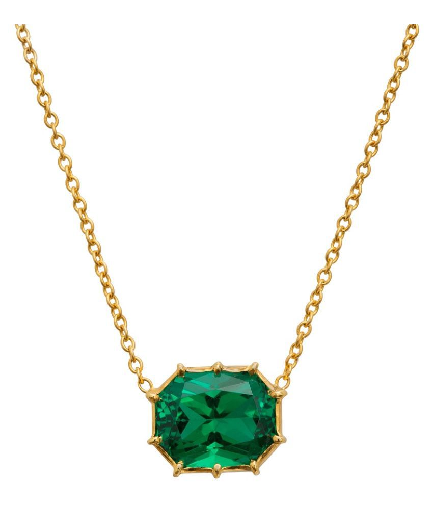 KUNDLI GEMS - 9 Carat stone Emerald  Gold Plated  Pandent  astrological & effective stone ring for unisex