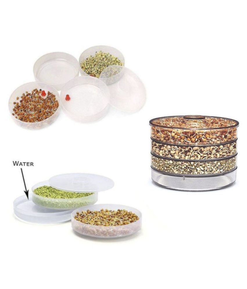N M CREATION Plastic 4 Compartment Sprout Maker