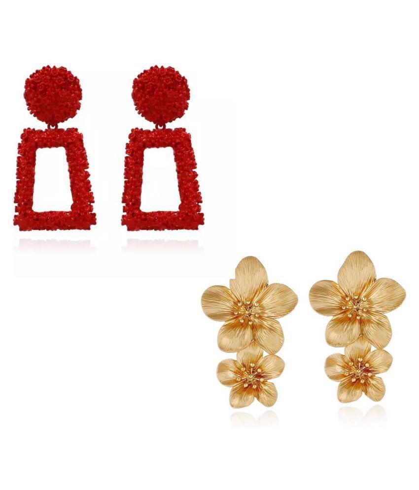 Set Of 2 Geometrical and Metal Floral Earrings