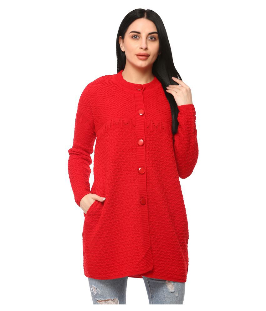 Glamaze Acrylic Red Buttoned Cardigans