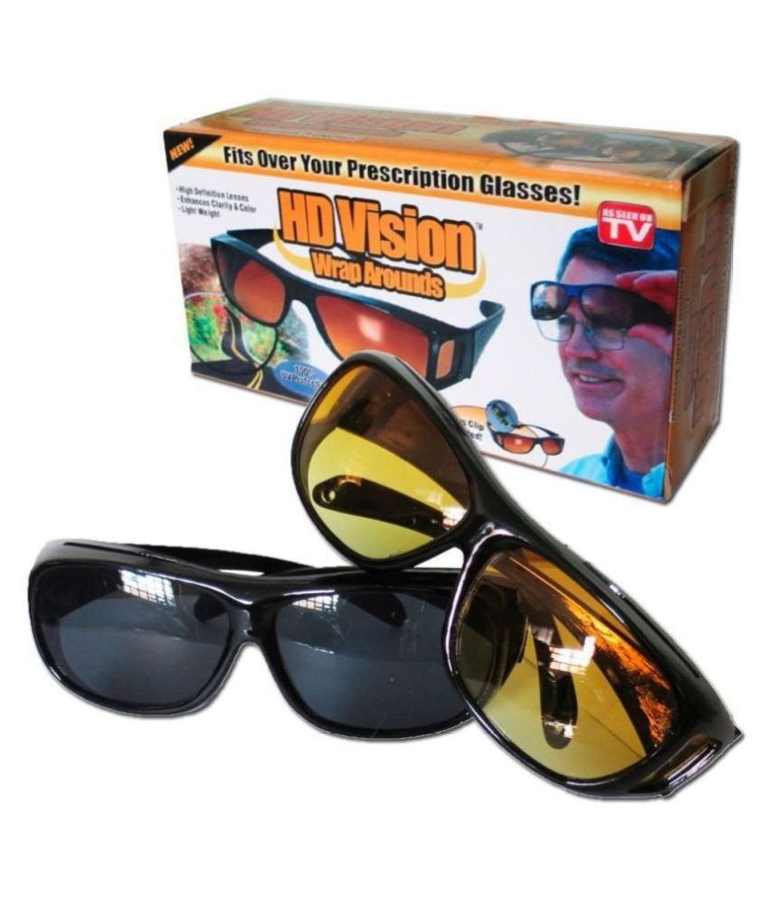 HD Unisex Wrap & Night Vision Sun Glasses UV Protected (yellow & Black)  Combo Pack