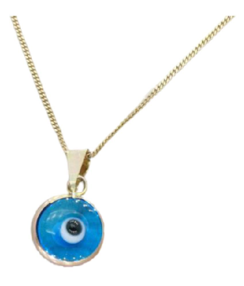 Evil Eye Blue Pendant/Locket for Women Gold-plated Copper  without chain BY KUNDLI GEMS