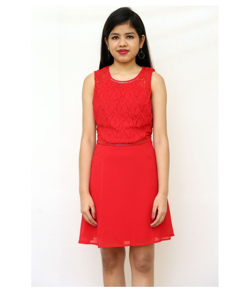 ARRICK FASHION Polyester Red A- line Dress