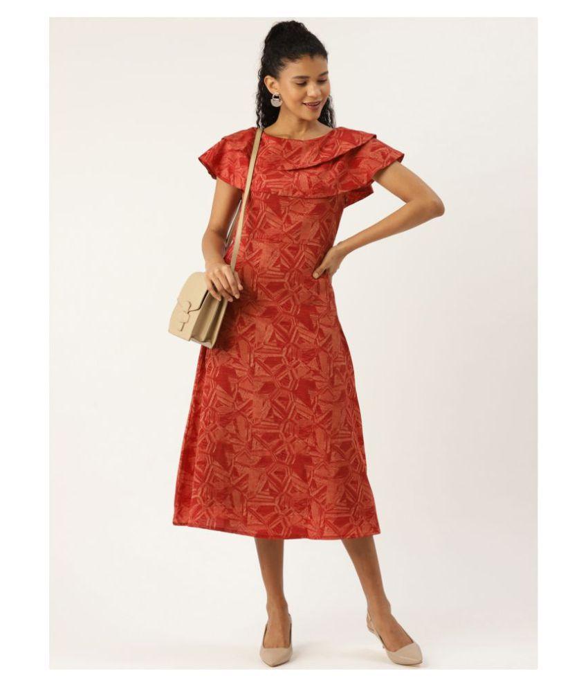 Cottinfab Crepe Rust A- line Dress