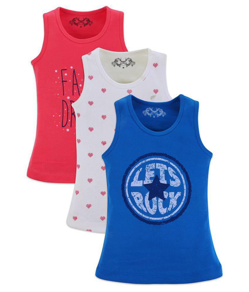 Femea Vest For Girls Cotton (Multicolor, Pack of 3)