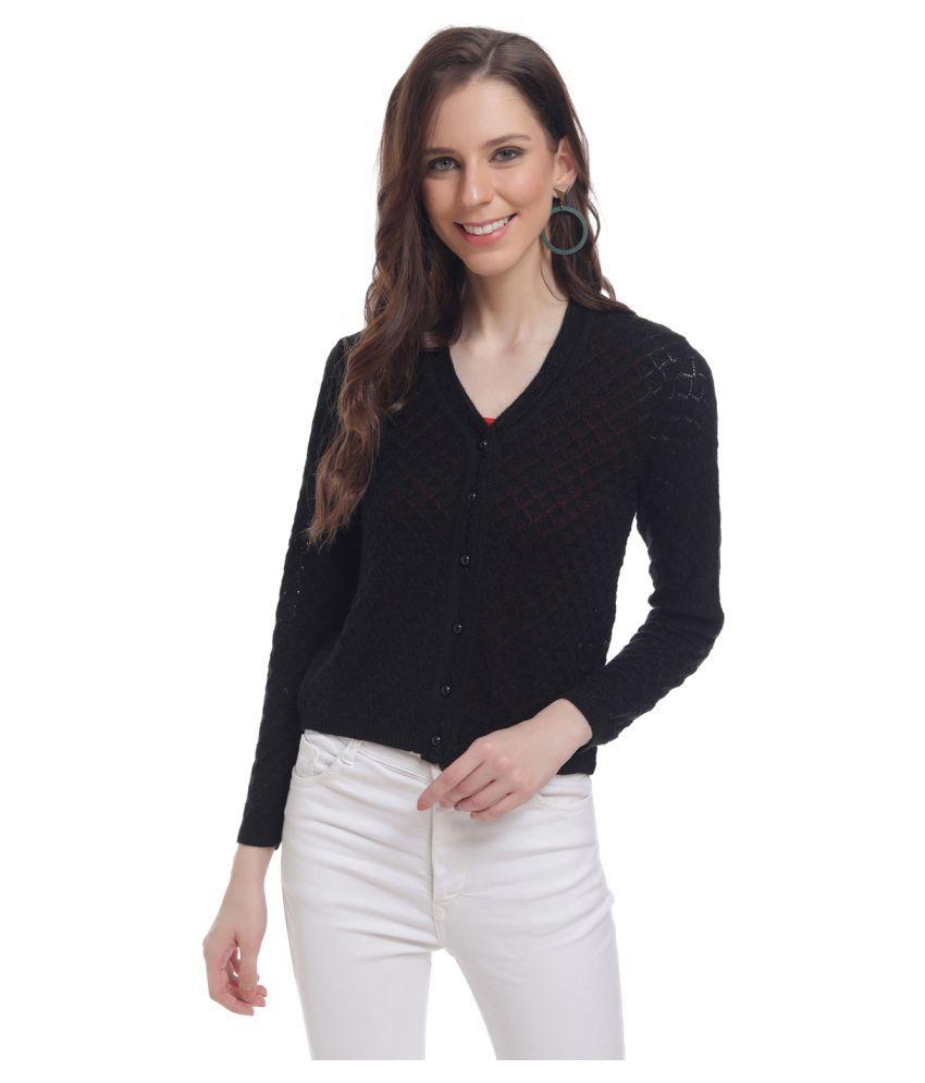 HaltonHills Acrylic Black Buttoned Cardigans