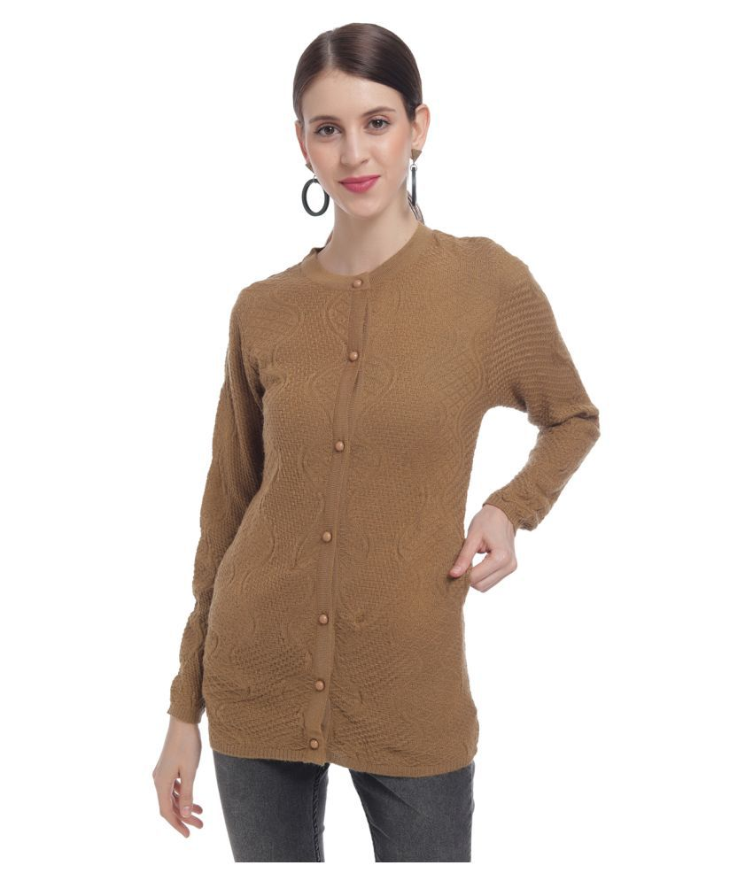 HaltonHills Acrylic Brown Buttoned Cardigans