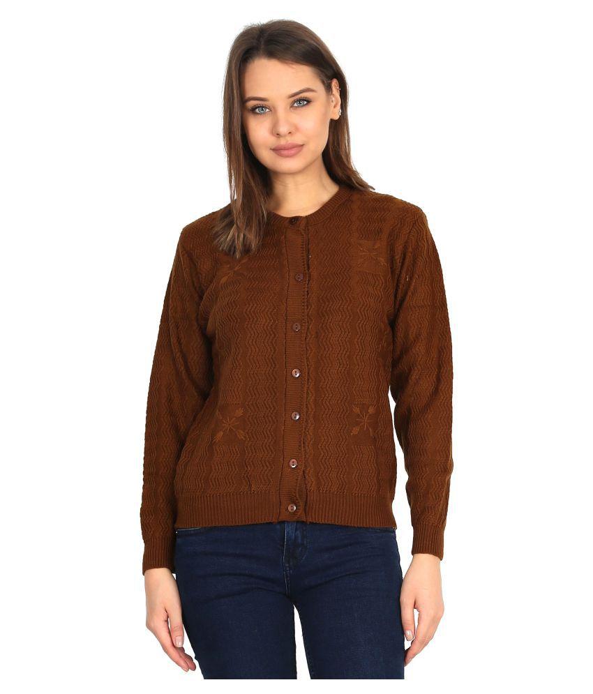 Urban Studio Woollen Brown Non Zippered Sweatshirt
