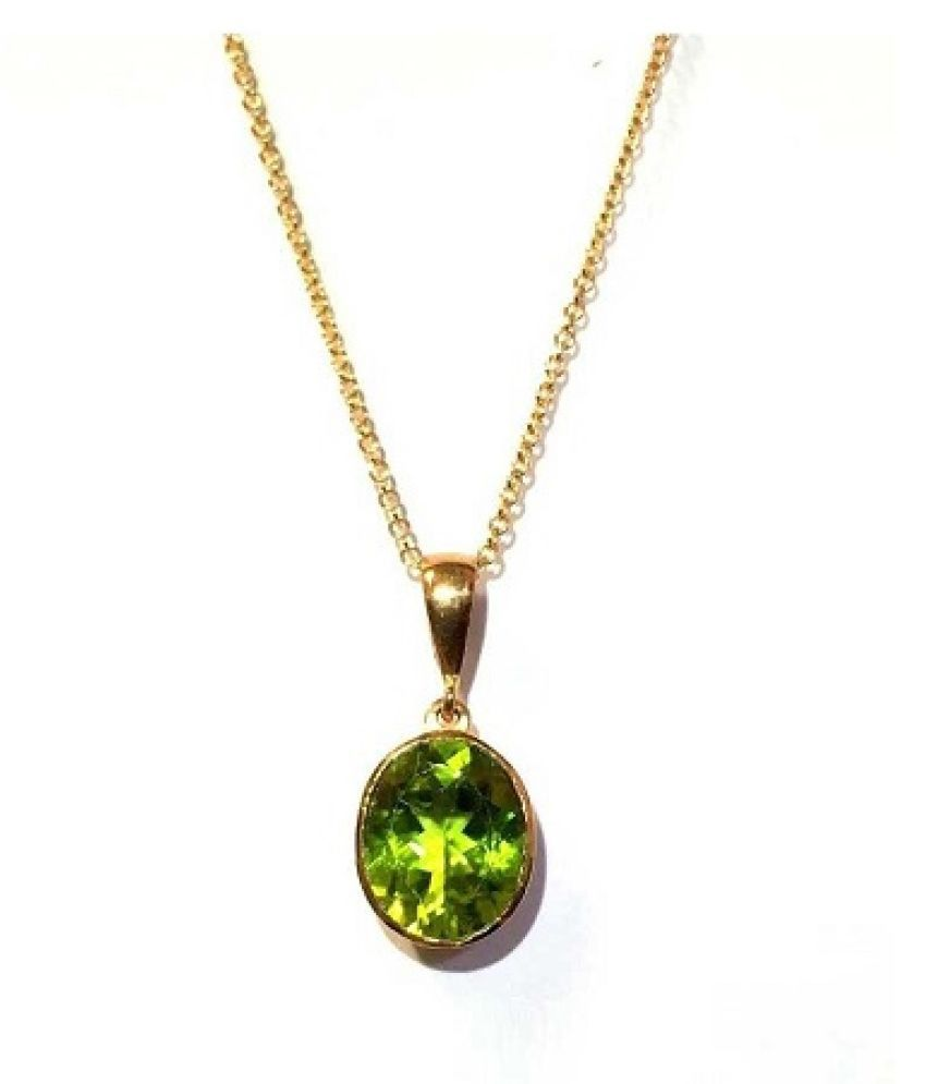 100% Natural 9 carat Peridot Gold Plated Pendant without chain by Ratan Bazaar\n