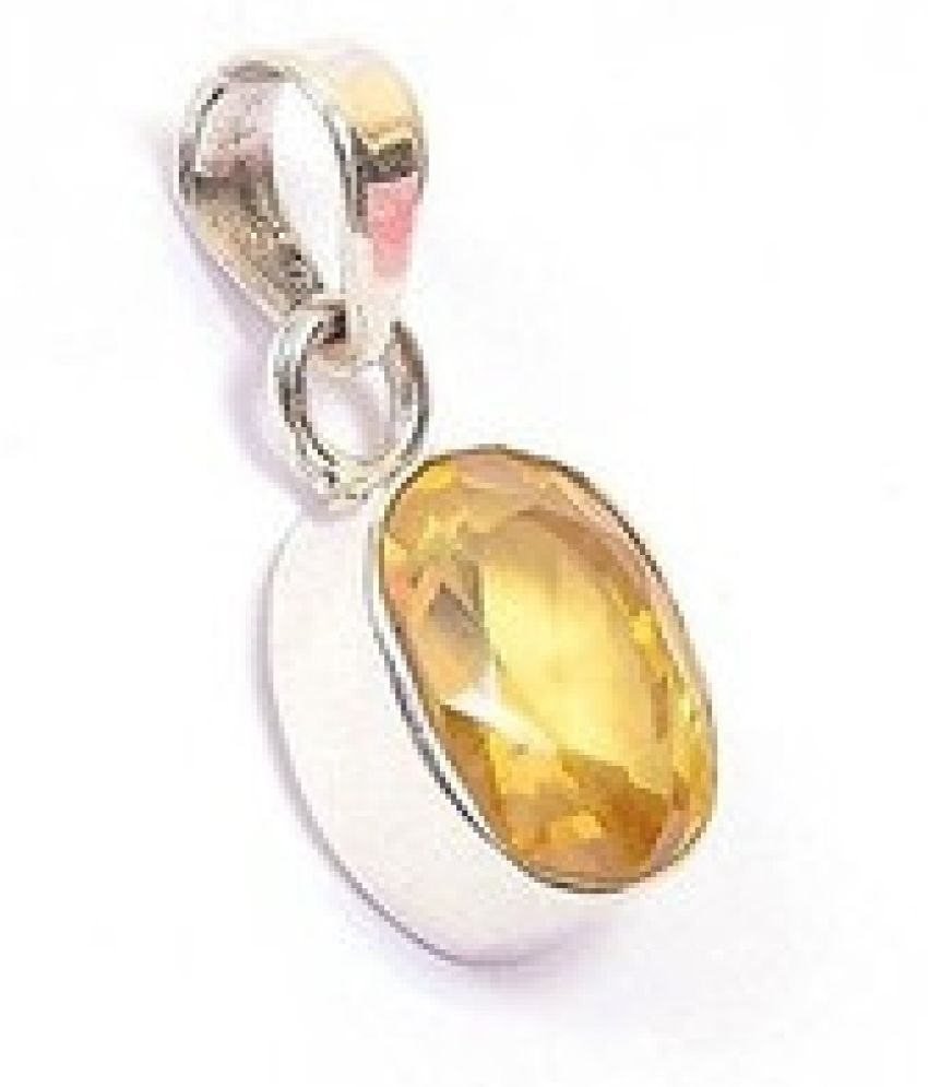 5.25 carat Natural Silver  Yellow Sapphire Pendant without chain by Kundli Gems\n