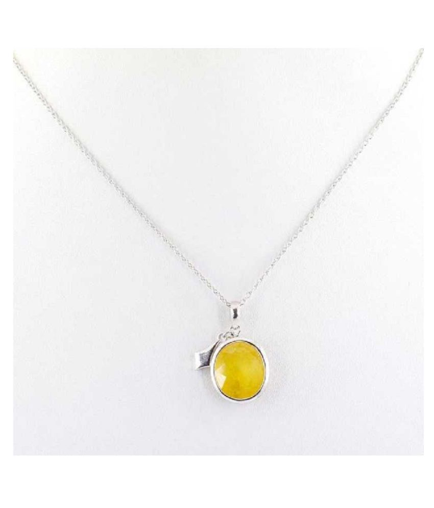 5 Ratti Yellow Sapphire Pendant With Natural Moti Silver Stone Pendant without chain by Kundli Gems