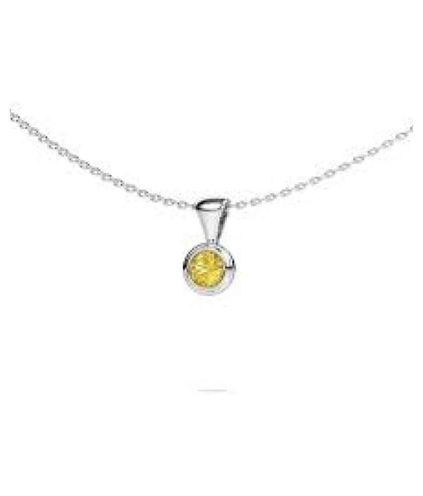 7.5 ratti natural Yellow Sapphire Stone pure Silver Pendant without chain for unisex by Ratan Bazaar\n