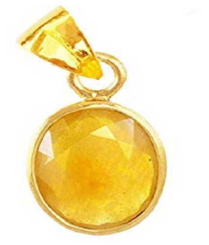 7 Carat Natural Stone Gold Plated Yellow Sapphire Pendant without chain for unisex by Ratan Bazaar\n