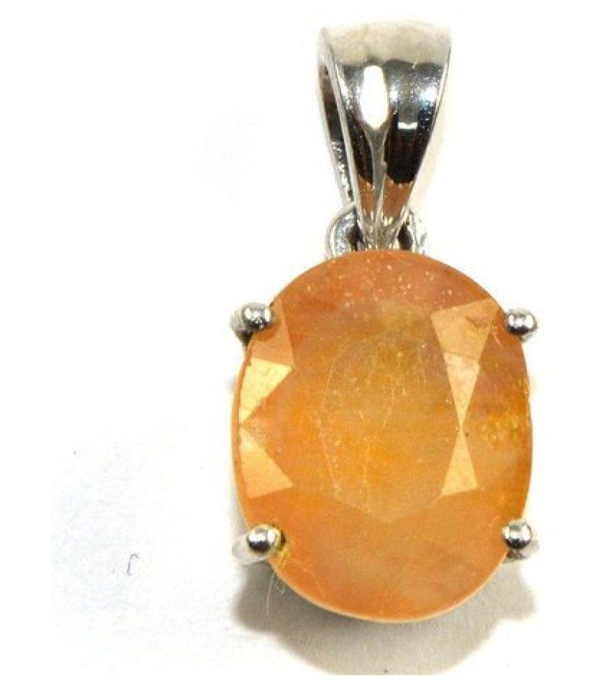 Sterling Silver Yellow Sapphire (Pukhraj)Pendant 9 carat Round Cut Moti Locket without chain by Kundli Gems