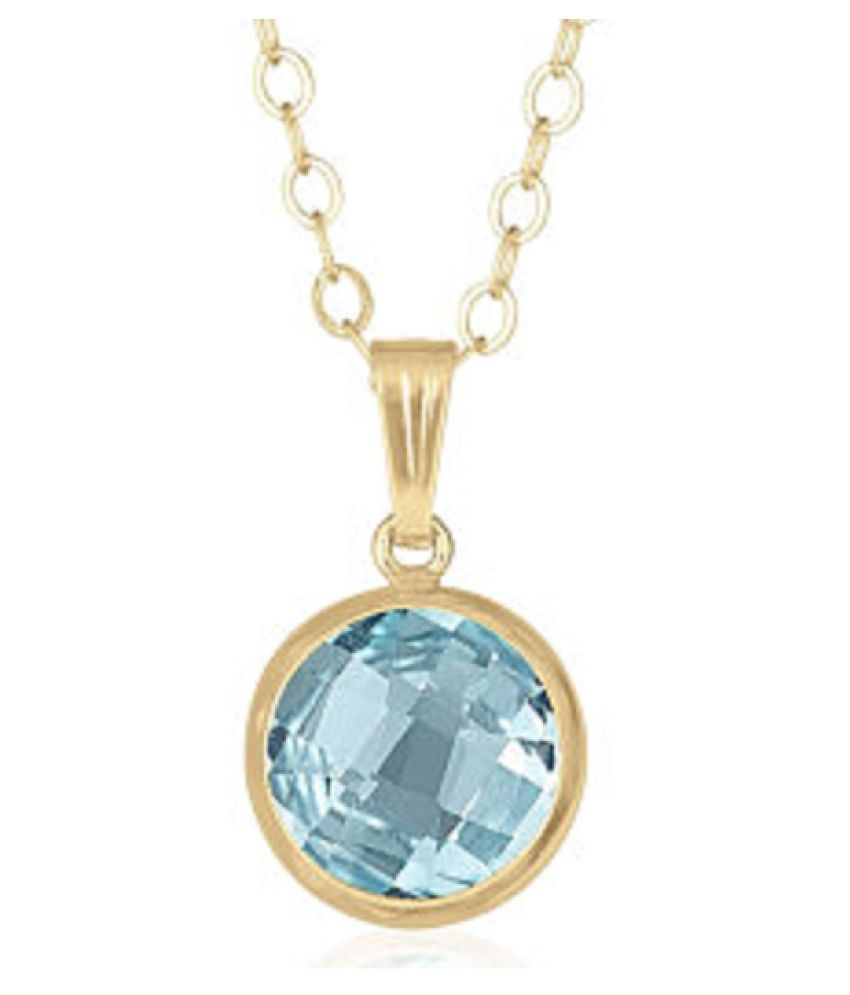 5.25 ratti stone pure Topaz Gold Plated Pendant without chain for unisex by Ratan Bazaar\n