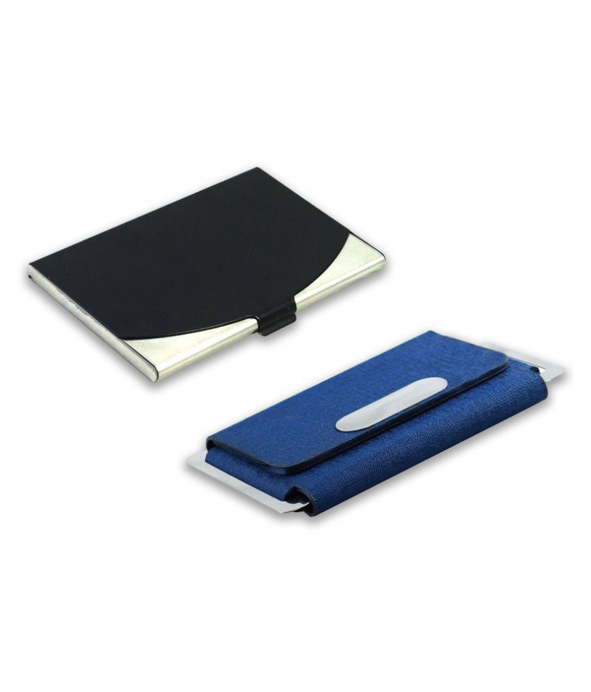 Auteur 5-28 Multicolor Artificial Leather Professional Looking Visiting Card Holders for Men and Women Set of 2 (upto 15 Cards Capacity)