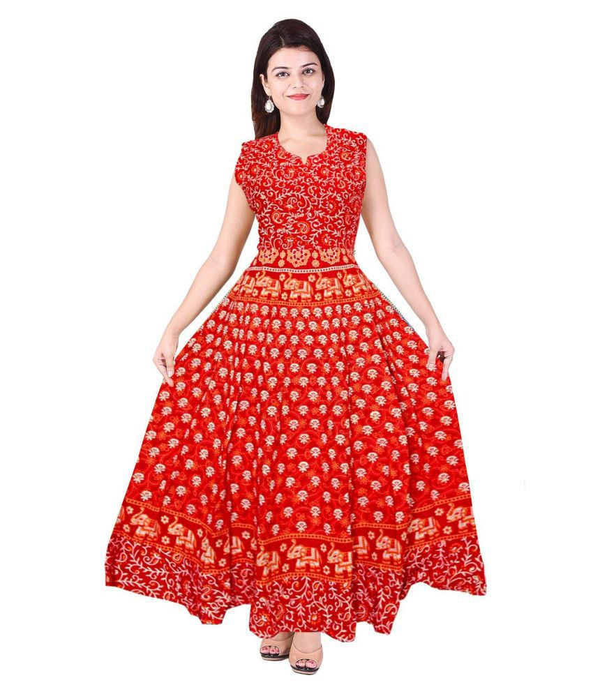 IBBA Cotton Red Empire Dress