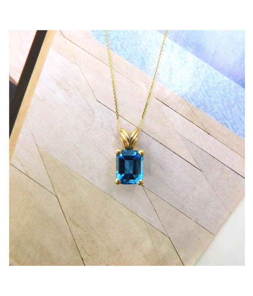 5 Ratti Topaz Pendant With Natural Gold Plated Stone Pendant without chain by Kundli Gems