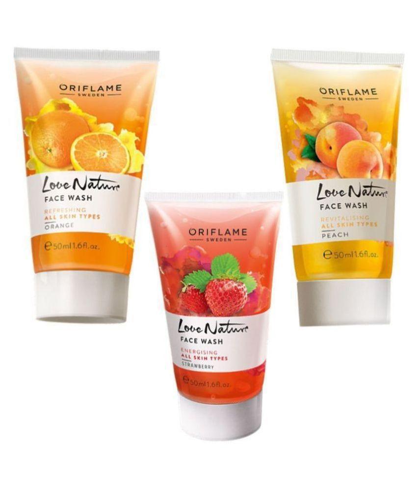 Love Nature Orange,Peach,Strawberry Face Wash 150 mL Pack of 3