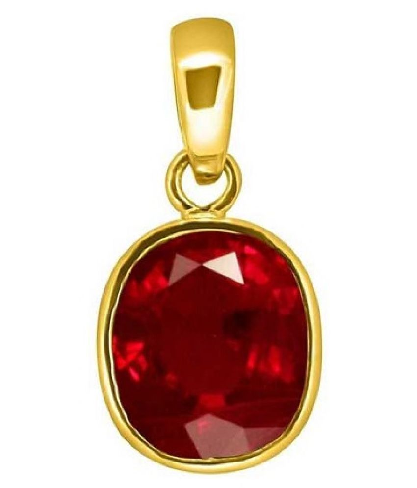 5.25 Ratti Gold Plated Original Ruby (Manik)Pendant without chain Lab Certified Stone by Ratan Bazaar\n