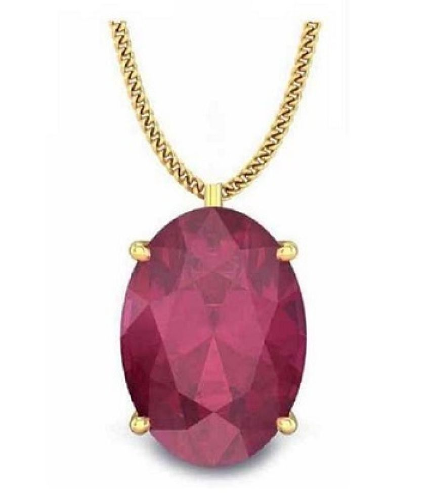 5.25 ratti Gold Plated Ruby  Pendant without chain for unisex by Ratan Bazaar\n