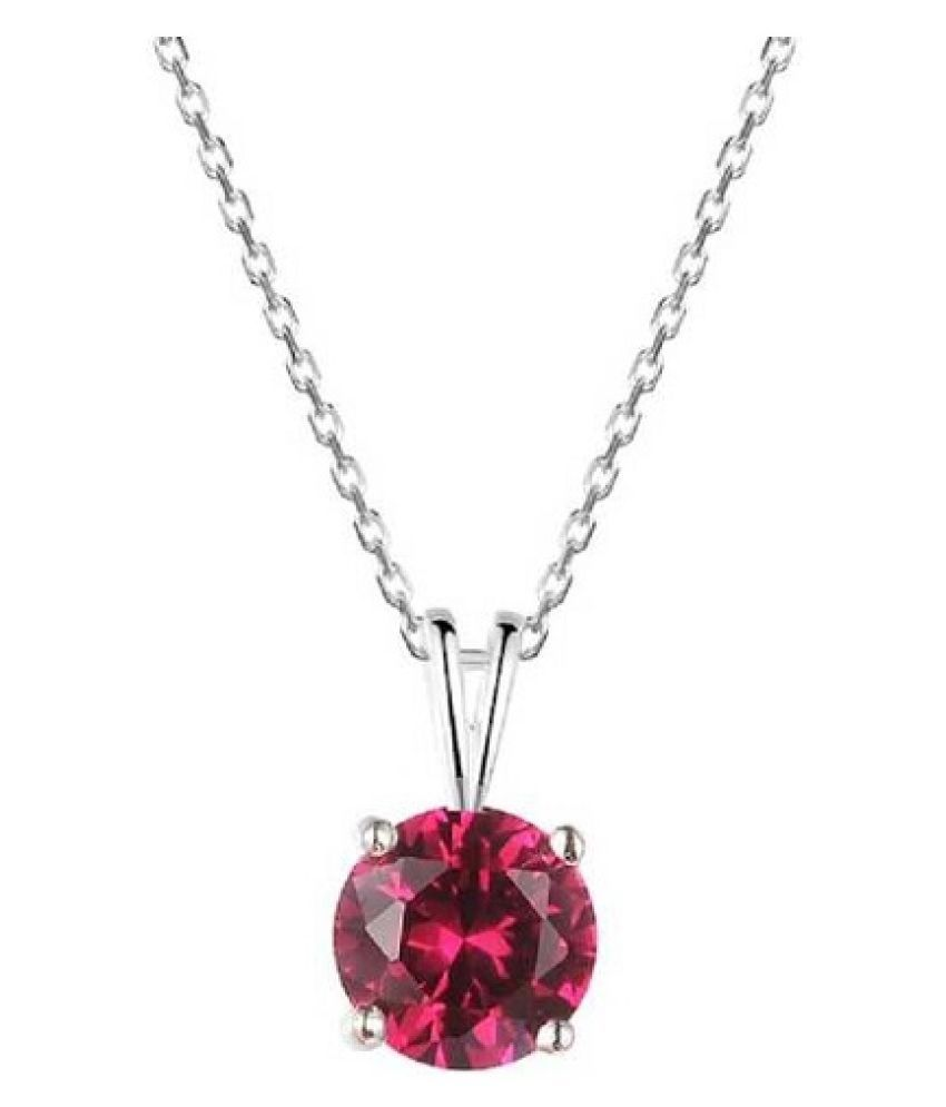 6.5 Ratti Lab Certified Stone 100% Original Ruby Silver Pendant without chain for unisex by Kundli Gems\n