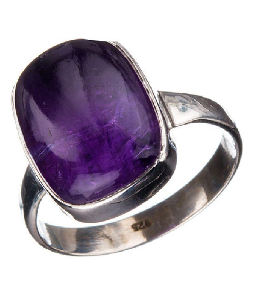 6 ratti Purple Stone 100% Natural Amethyst silver Ring byRatan Bazaar\n