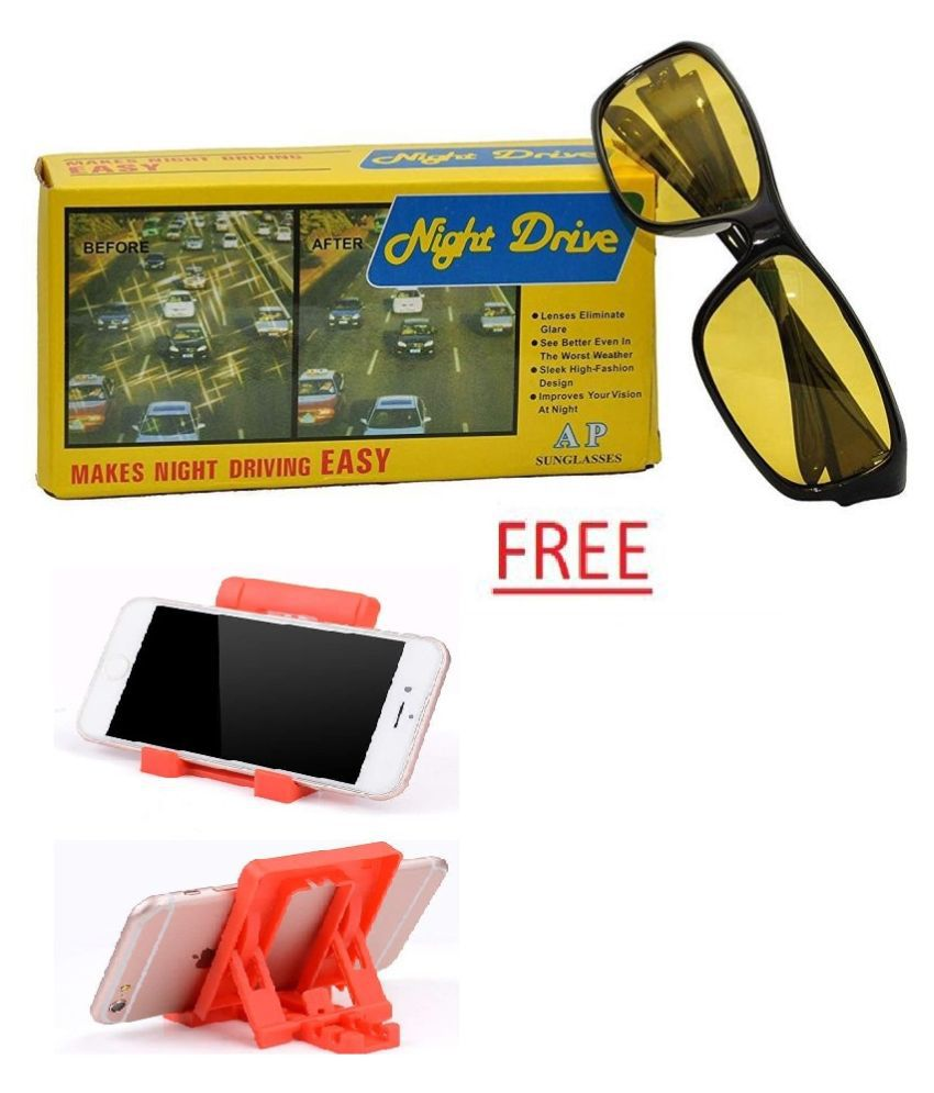 Black Frame Lens Night Vision Biker Sports Unisex Sunglasses With Free Chit Chat Mobile Stand