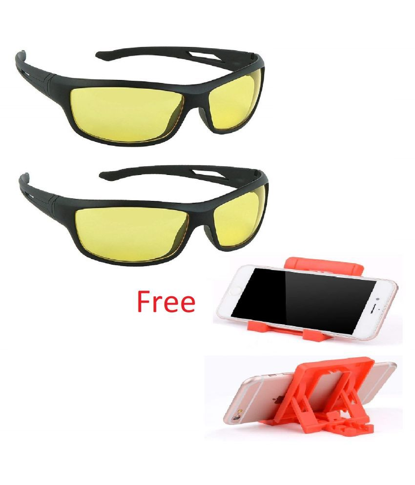 Black Frame Night Vision Driving Sunglasses for Men and Women With Free Chit Chat Mobile Stand Pack of 2
