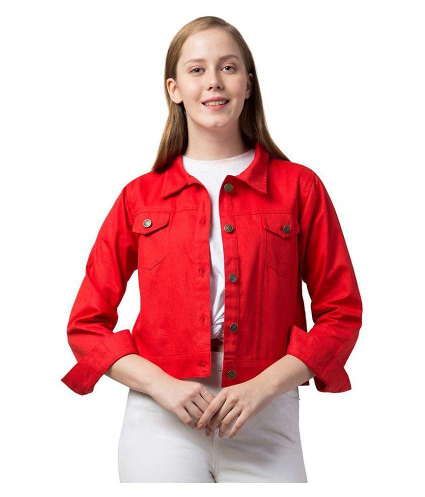 Dress Universal Cotton Blend Red Jackets