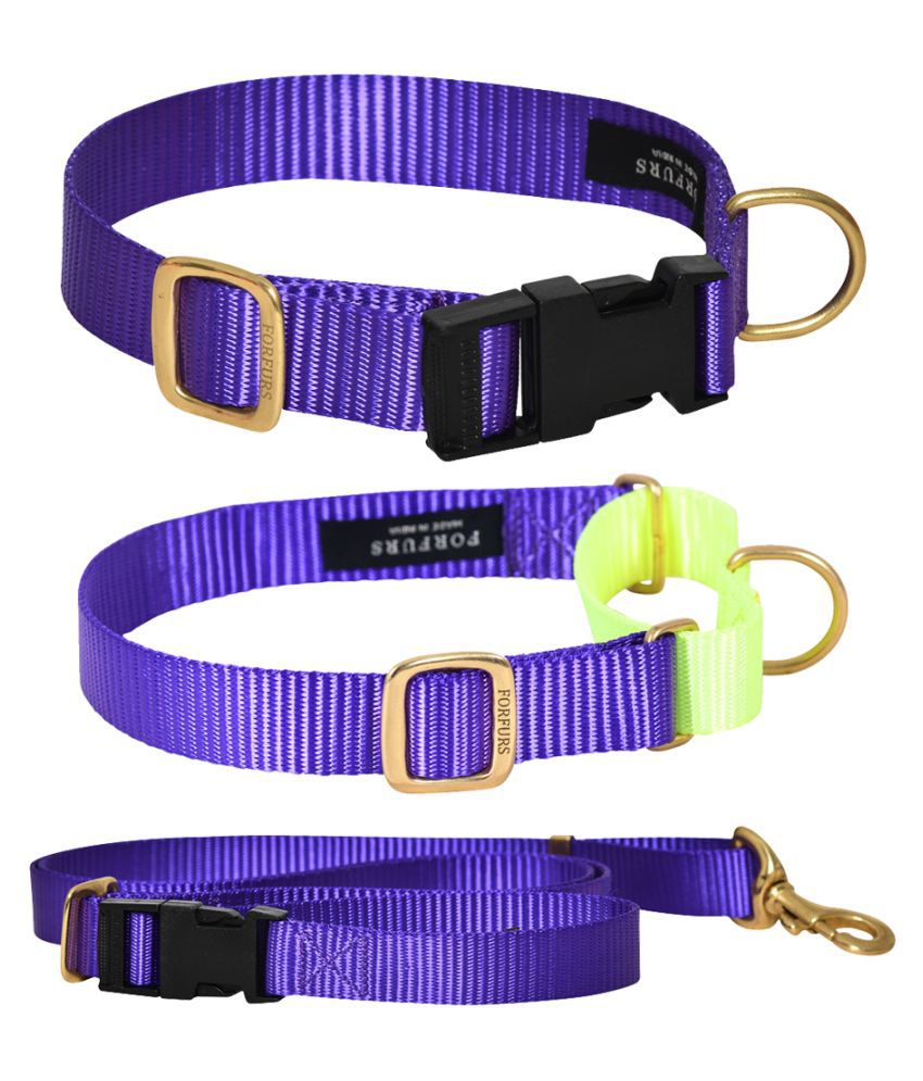 FORFURS Classic Snap Collar, Martingale Collar and Adjustable Leash Set for Large Dogs (Large: 17-24 inch, Ultra Voilet)