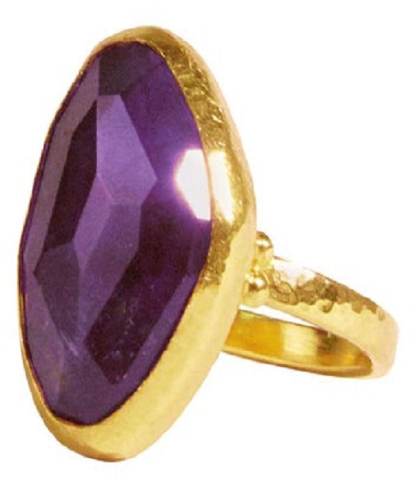 Gold Plated  9.5 Carat Classic Amethyst(Jamuniya)  Ring by Ratan Bazaar