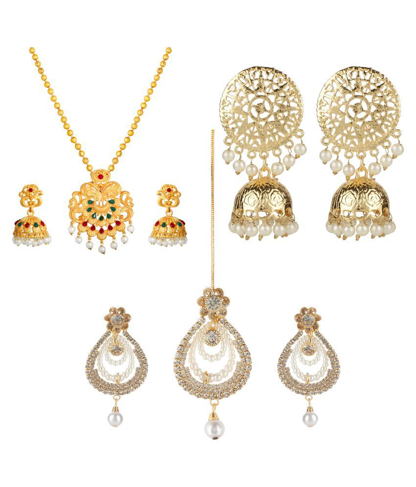 Kord Store Alloy Golden Matinee Traditional Gold Plated Necklace set Combo