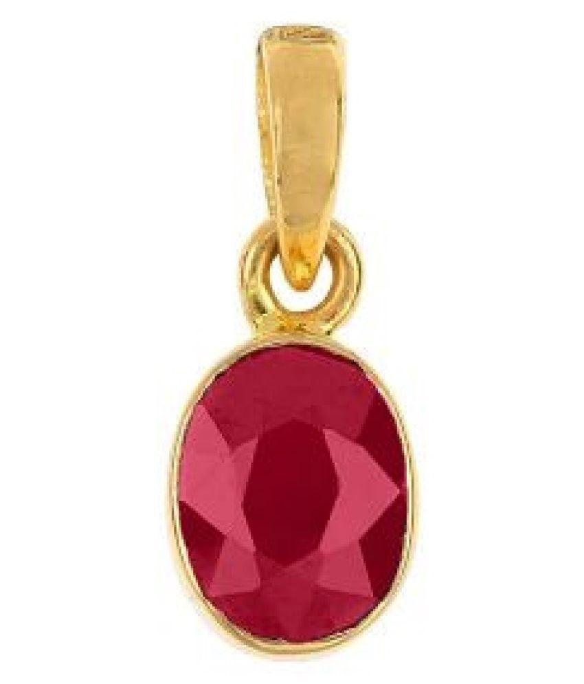 Kundli Gems- 5.25  ratti Stone 100% Natural Ruby Gold(Panchdhatu)  Plated Pendant without chain
