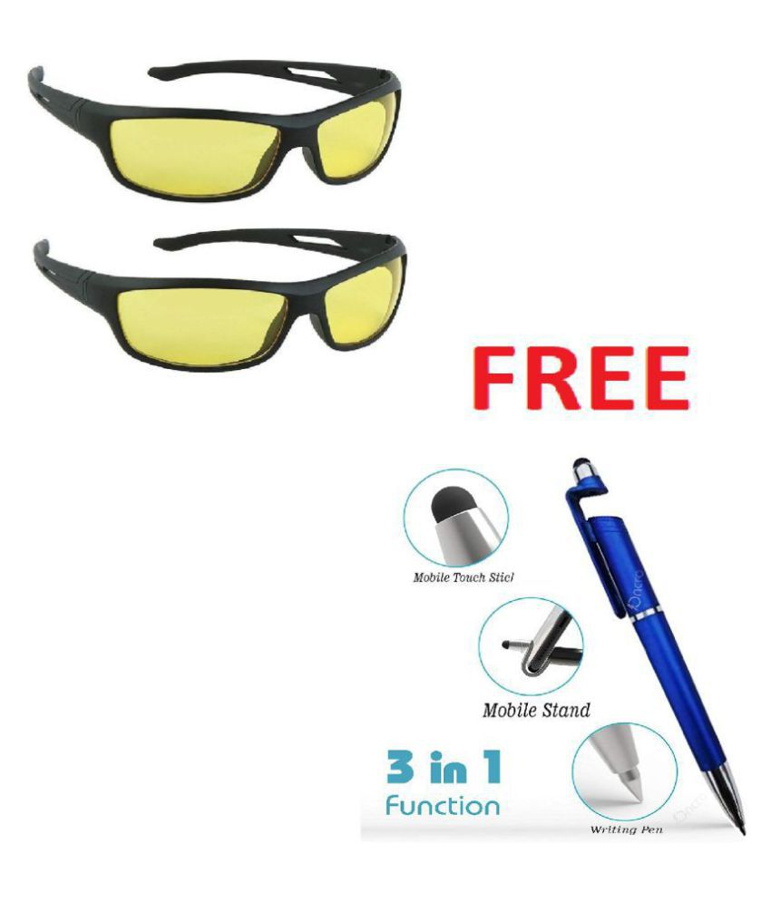 Night Vsion Driving Sunglasses    Around Glasses with Anti Reflective Coating ( Yellow ) With Free 3 in 1 pen Set of 2