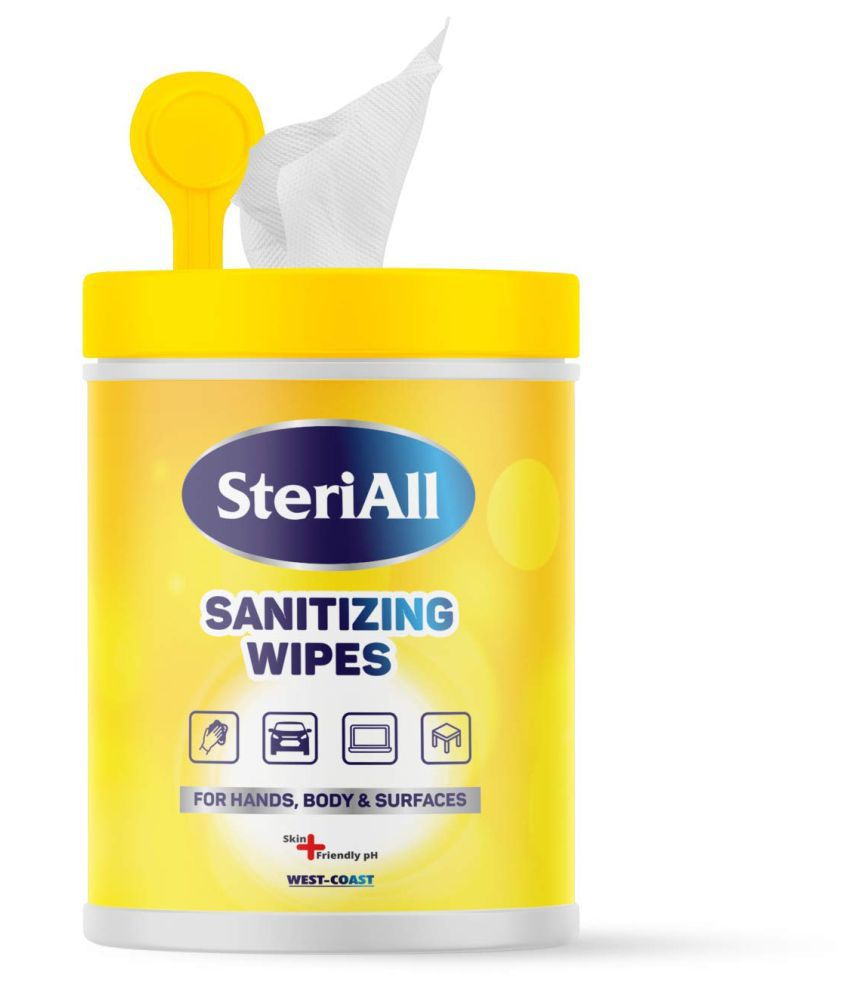 West-Coast SteriAll Sanitizing Wipes - 50 Sanitizers 50 mL Pack of 3