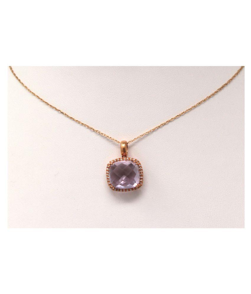 100% Natural 6 carat Amethyst(Jamuniya)Gold Plated Pendant without chain by Ratan Bazaar\n