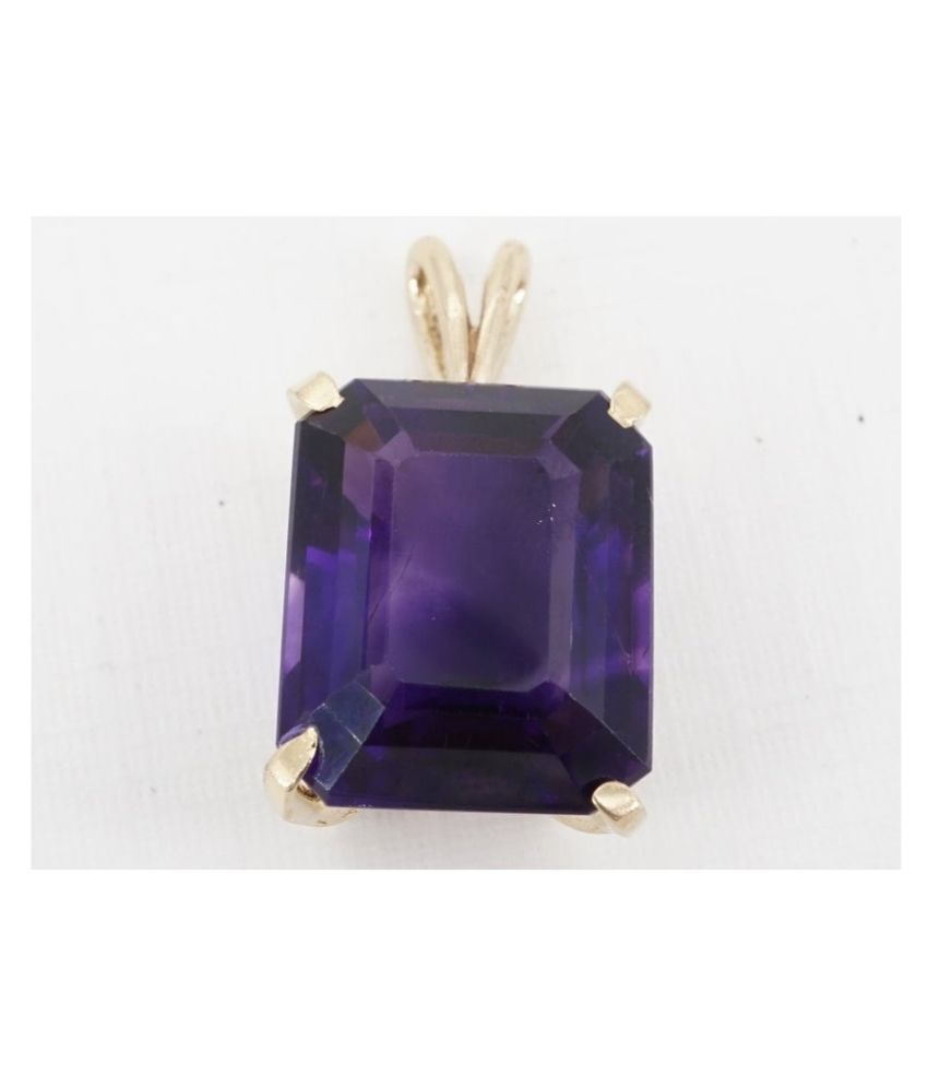 5 Carat Natural Stone Gold Plated Amethyst Pendant without chain for unisex by Kundli Gems\n