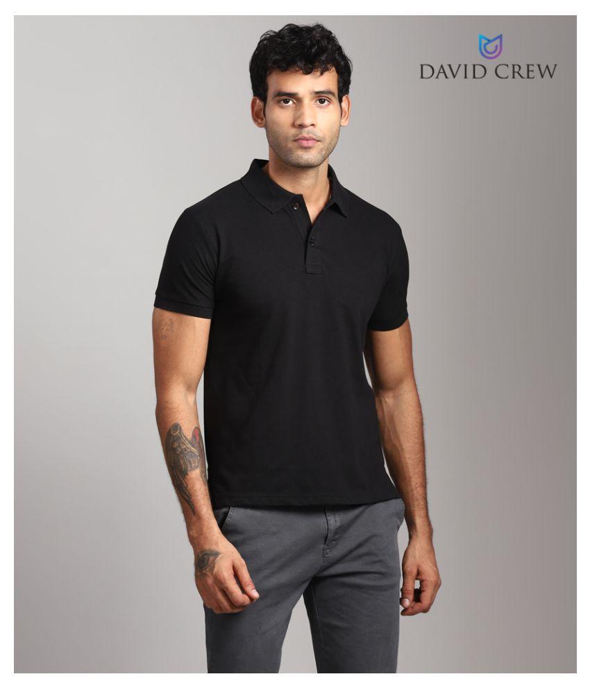 David Crew Cotton Blend Black Plain Polo T Shirt