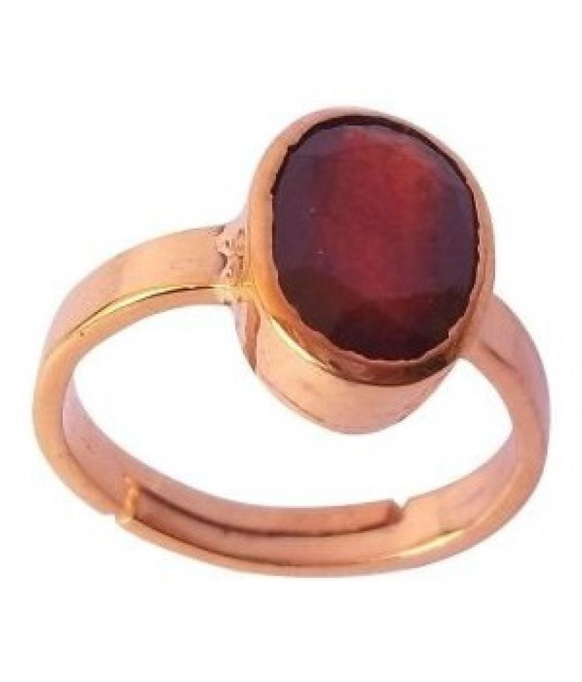 9 Carat Lab Certified  Gold Plated Ruby(Manik) Moti Ring for unisex by KUNDLI GEMS