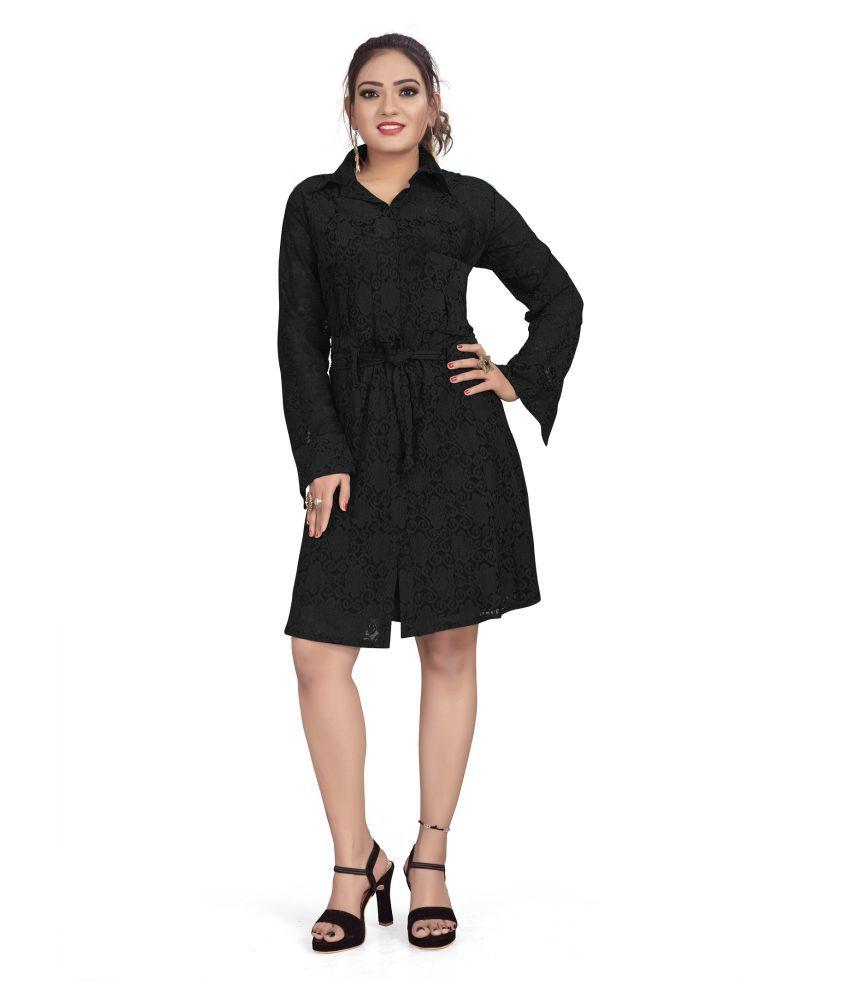 SK Creation Polyester Black Skater Dress