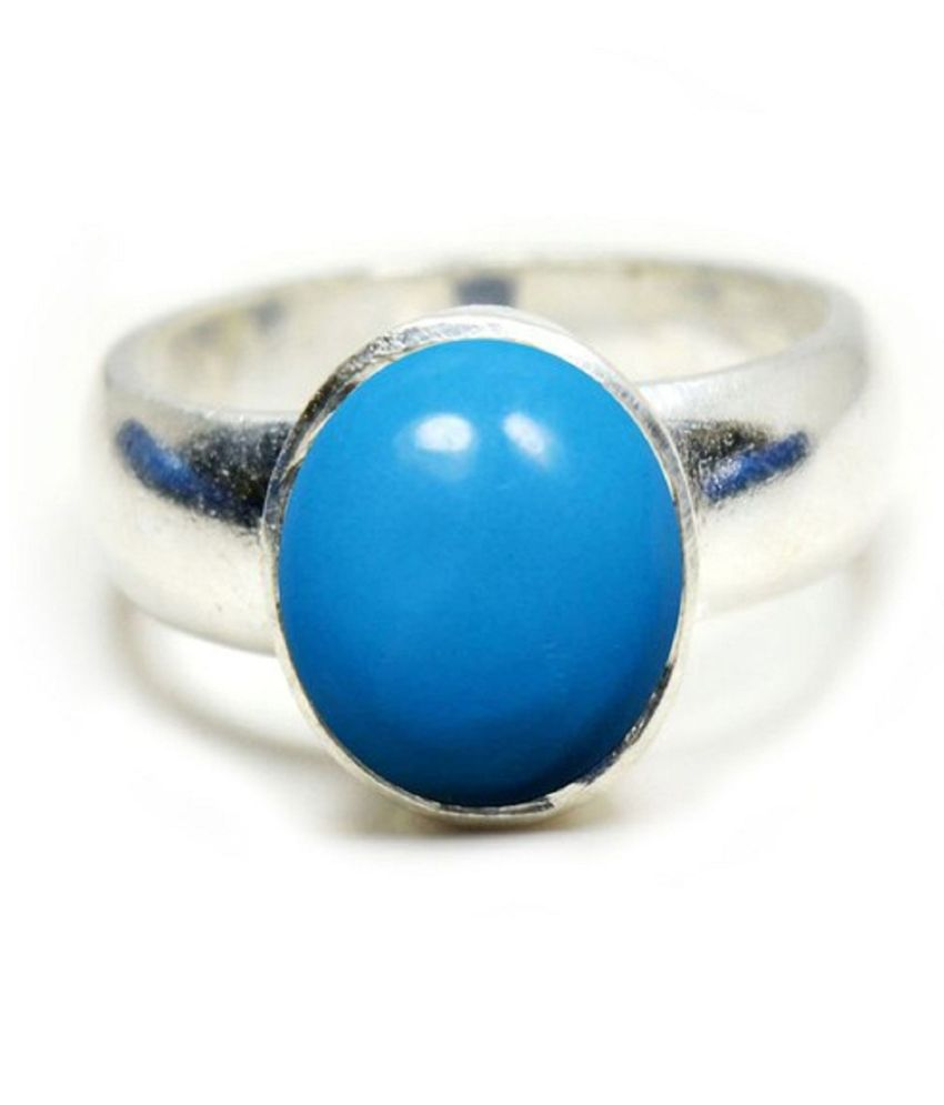 5 carat pure Turquoise Silver Ring  by Ratan Bazaar\n