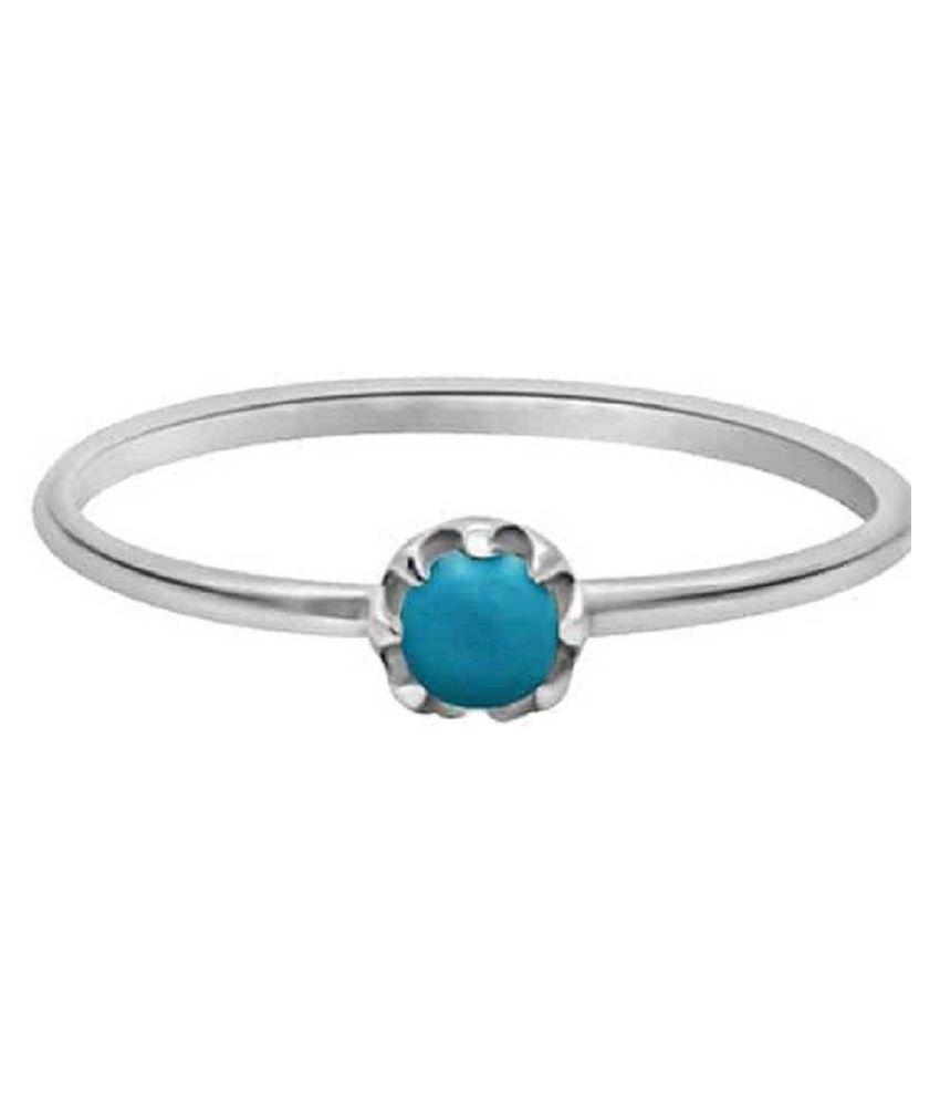 6.25 carat Natural Silver Turquoise(Firoza)Ring  by Ratan Bazaar\n
