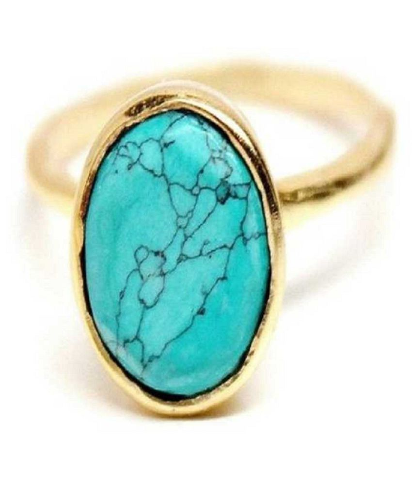 7 RATTI  Gold Plated Turquoise(Firoza)  Ring  by Ratan Bazaar\n