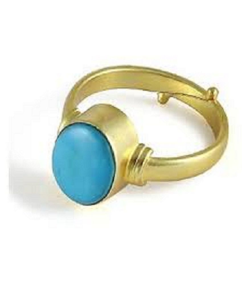 9 carat pure Turquoise(Firoza) Gold Plated Ring  by Ratan Bazaar\n
